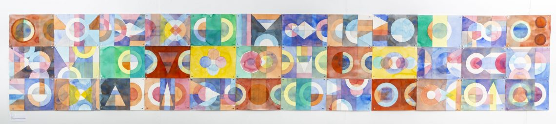 Water Quilt, 2021, watercolour,, graphite pencil on Arches paper, 63 cm x 348 cm, Glass Box gallery. Photo credit Andy Willis