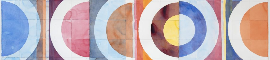 Sunset at Wellington point Quilt 2, 2020, watercolour and graphite pencil on Arches, 102 cm x 420 cm.