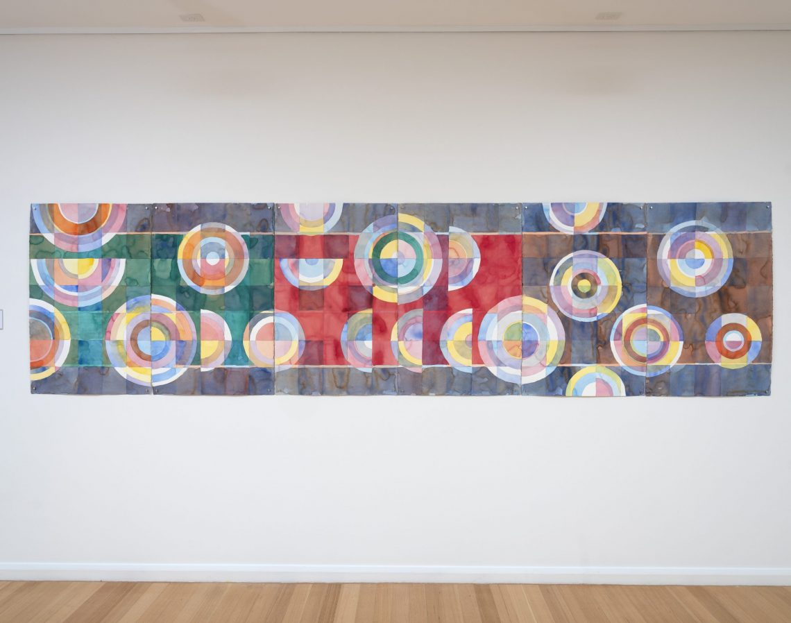 Wellington Point Quilt, 2020, waterclour on Arches paper installed at Redland Regional Gallery, Capalaba, 2021. Photo credit Carl Warner.